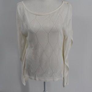 White House Black Market White Diamond knit blouse